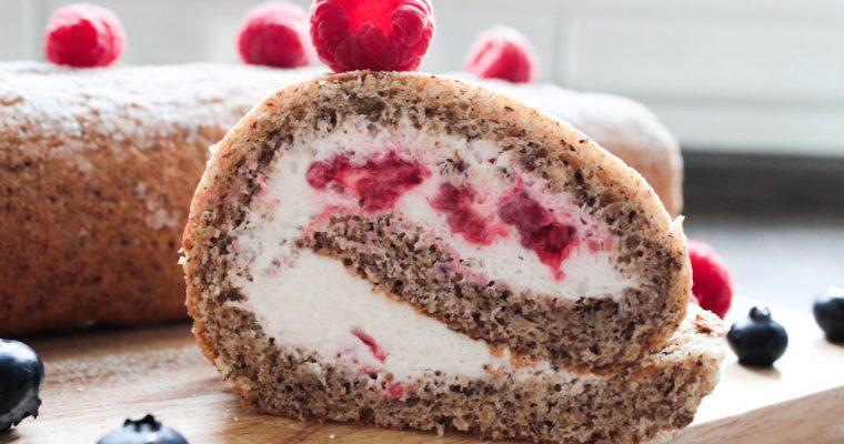 Hazelnut cake roll with raspberries