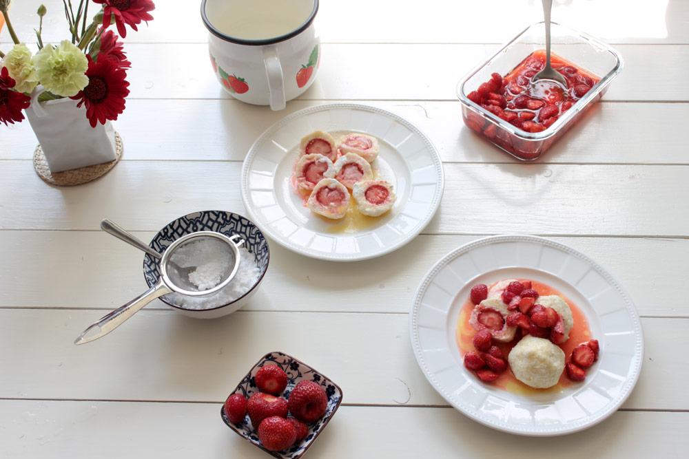 Jahodové tvarohové gule na tanieri