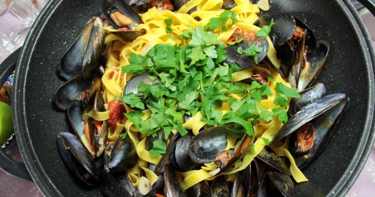 Seafood tagliatelle with cherry tomatoes